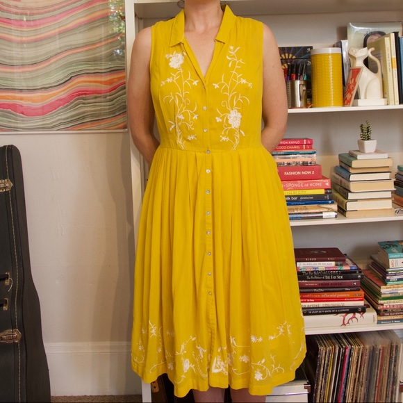Moulinette Soeurs Dresses & Skirts - Moulinette Soeurs Anthropologie yellow dress 8